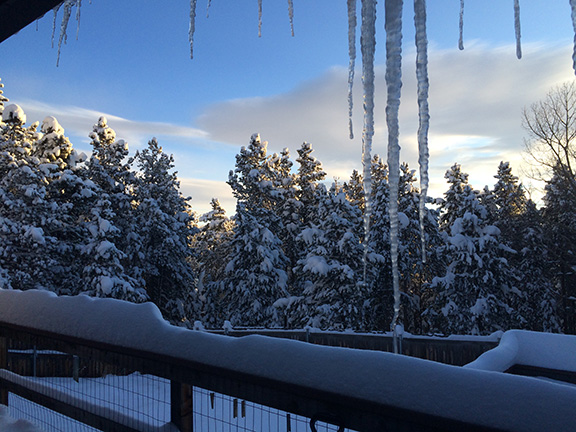 icicles and sunrise